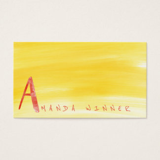 Monogram A Minimalism Lemon Watermelon Aquarelle Business Card