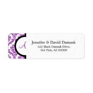Monogram A Purple Damask Address Labels
