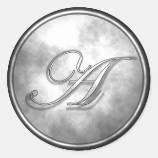 monogram_a round sticker