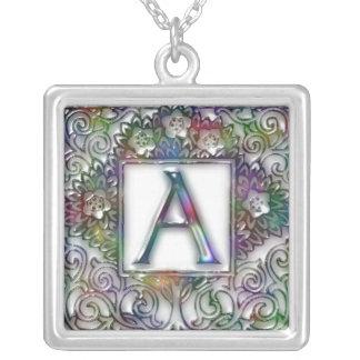 Monogram A Square Pendant Necklace