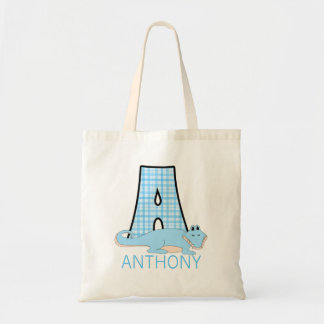 Monogram A with a Alligator and Boy's Name Tote Bag