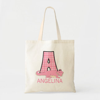 Monogram A with a Alligator and Girl's Name Tote Bag