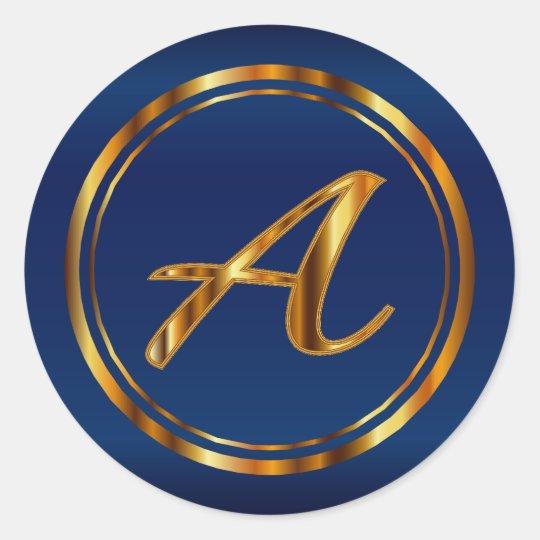 Monogram A-Z - Metallic Gold on Navy Blue