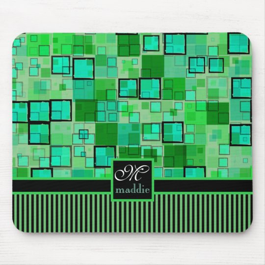 Monogram Abstract Geometric Squares Stripes Green Mouse Mat