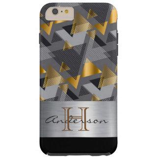 Monogram Abstract Gold Black Silver Design Tough iPhone 6 Plus Case