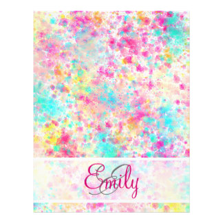 Monogram Abstract Neon Rainbow Splatter Pattern 21.5 Cm X 28 Cm Flyer