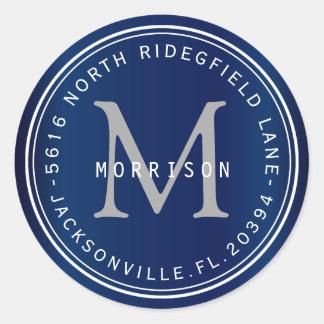 Monogram Address Label in Navy Blue