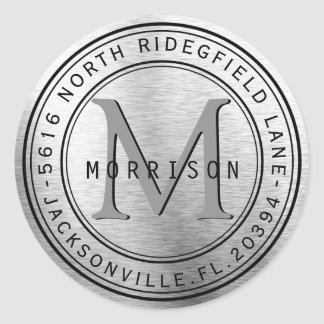 Monogram Address Label in Silver Metal