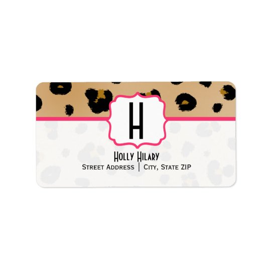 Monogram Address Label -  Leopard Print