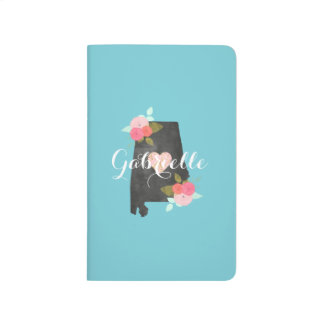 Monogram Alabama State Watercolor Floral & Heart Journal