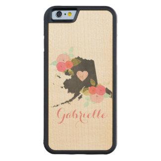 Monogram Alaska Chalkboard State Flowers & Heart Carved Maple iPhone 6 Bumper Case