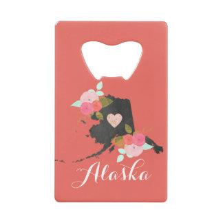 Monogram Alaska State Watercolor Floral & Heart