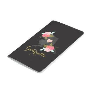 Monogram Alaska State Watercolor Floral & Heart Journal