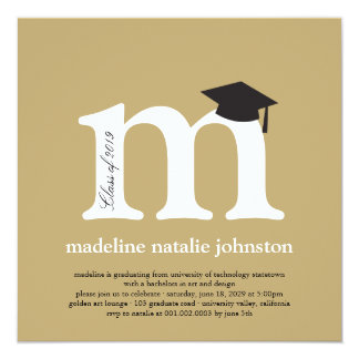 Monogram Alphabet Graduate Graduation Photo Party Custom Invites