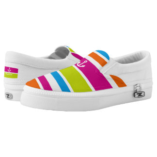 Monogram Anchor Colorful Stripes Coastal Summer Printed Shoes