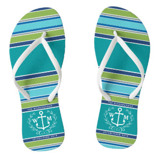 Monogram Anchor Laurel Wreath Stripes Aqua Flip Flops