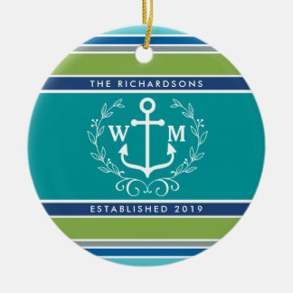 Monogram Anchor Laurel Wreath Stripes Aqua Round Ceramic Decoration
