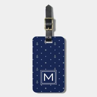 Monogram Anchor Polka Dots Pattern Luggage Tag