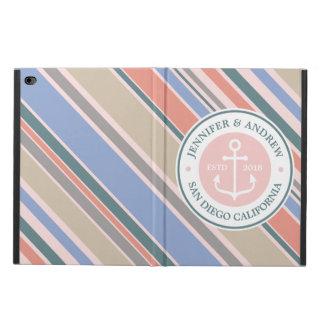 Monogram Anchor Trendy Stripes Pink Nautical Beach
