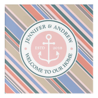 Monogram Anchor Trendy Stripes Pink Nautical Beach Acrylic Wall Art