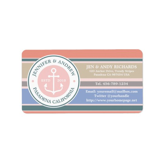 Monogram Anchor Trendy Stripes Pink Nautical Beach Address Label