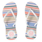 Monogram Anchor Trendy Stripes Pink Nautical Beach Flip Flops