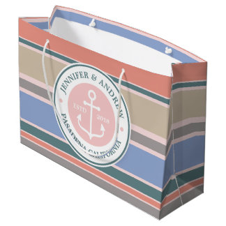 Monogram Anchor Trendy Stripes Pink Nautical Beach Large Gift Bag