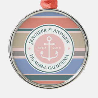 Monogram Anchor Trendy Stripes Pink Nautical Beach Silver-Colored Round Decoration