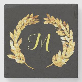Monogram Ancient Greek Laurel Logo Stone Beverage Coaster