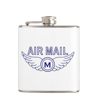 Monogram and Air Mail Wings Flask
