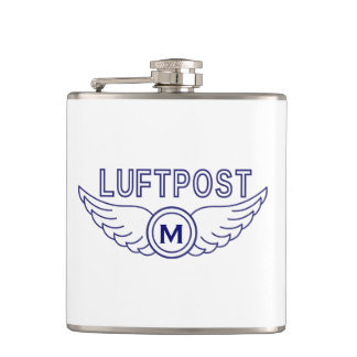 Monogram and Air Mail Wings Hip Flask