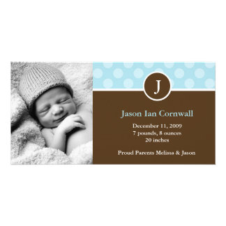 Monogram and Dots Birth Announcements Photo Card Template