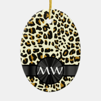Monogram and  leopard print christmas ornament