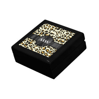 Monogram and leopard print small square gift box