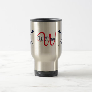 Monogram and name crossed oars rowing travel mug