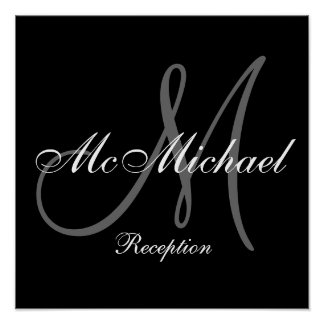 Monogram and Name Wedding Reception Sign