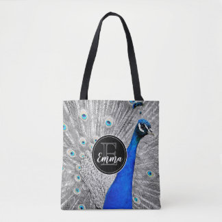Monogram and photograph of white peacock feathers, tote bag