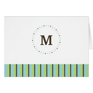 Monogram and Stripes Blank Card-turquoise Card