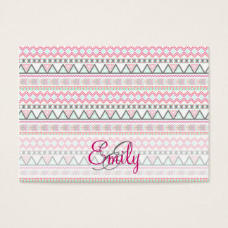 Monogram Andes Pink Teal Pastel Aztec Pattern Business Card