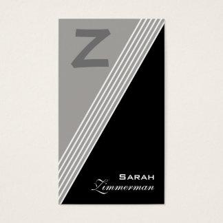 Monogram Angles Slate Grey Business Card