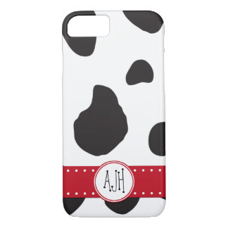 Monogram - Animal Print, Cow Spots - Black White iPhone 8/7 Case
