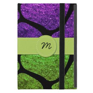 Monogram - Animal Print Giraffe, Glitter - Green Case For iPad Mini