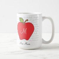Monogram Apple Teachers Coffee Mug