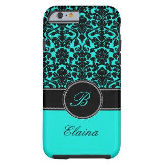Monogram Aqua, Black, White Damask iPhone 6 case