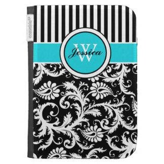 Monogram Aqua Black White Striped Damask 2 Kindle Case For Kindle