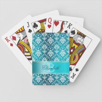 Monogram Aqua Blue and White Damask Playing Cards