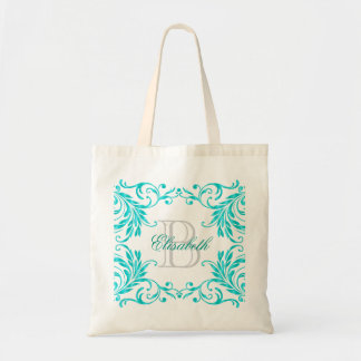 Monogram Aqua Blue Damask