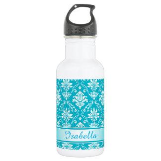 Monogram Aqua Blue Damask 532 Ml Water Bottle