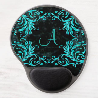Monogram Aqua Blue Damask Gel Mouse Mat