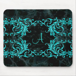 Monogram Aqua Blue Damask Mouse Mat